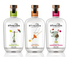 Brand and packaging for Alcohol free liquor.Illustrations retouched from originals for Chuwy (MG & co) by istockphoto. Skincare Packaging, Juice Packaging, Cool Packaging, Bottle Packaging, Brand Packaging, Label Design, Branding Design, Package Design, Gin Brands