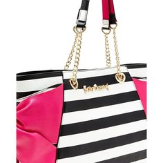 Betsey Johnson Hotty Pocket Tote ($108) ❤ liked on Polyvore featuring bags, handbags, tote bags, fuchsia, chain strap purse, handbags totes, white tote handbags, pocket purse and white tote
