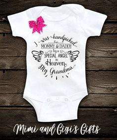 Handpicked by My Angels in Heaven Source Baby Shirts, Onesies, Baby Onesie, Pregnancy Shirts, Angels In Heaven, Rainbow Baby, Cute Baby Clothes, Baby Fever, Future Baby