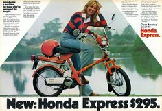 1977 Honda Express Motor Scooter Ad. 100 MPG What A Deal!