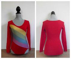 SOLD .. 1970s Red Rainbow Bodysuit Leotard RARE Vintage by rileybella123, $38.00