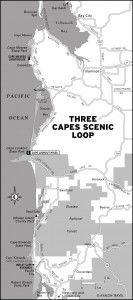 Map of Three Capes Scenic Loop, Oregon