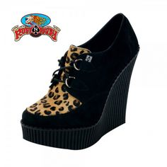 a01805771cb Black Suede   Leopard Cow Hair Creeper Wedge By T.U.K Footwear