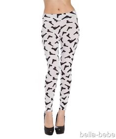 Sexy Black & White Fold over fitted ankle length Gun Print Leggings yoga pants #shopjaded