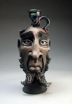 Face Jug raku pottery folk art sculpture by Mitchell Grafton