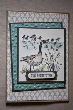 features Stampin Up's Wetlands stamp set. Geburtstagskarte in kühlen Farben