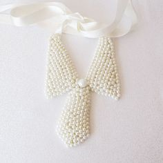 Pearl Collar Necklace  Pearl Collar Tie  by aynurdereli on Etsy, $32.00