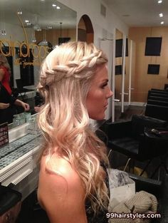 blonde bangs hairstyle with braid - 99 Hairstyles Ideas