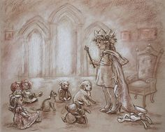"Princess Art Girl kids decor, illustration Nursery print ""Our Princess Holding Court"" monotone 8x10"
