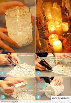How to apply lace to glass!