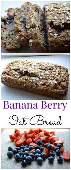 Banana Berry Oat Bread. Perfect spring and summer breakfast or snack! Made with coconut oil, greek yogurt, fresh fruit, chia seeds, and oats.