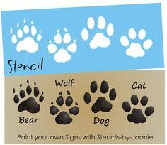 STENCIL Bear Wolf Dog Cat Paw Print Tracks Cabin Signs picclick.com