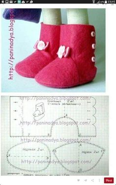 Sapatos Baby shoes from felted wool: Picture/pattern. decipherable from illustration (there are no instructions), Newborn wool felt baby shoes, perfeThis post was discovered by RoFelt baby shoes~ Could be used for dolls. Doll Shoe Patterns, Felt Animal Patterns, Fabric Patterns, Sewing Patterns, Baby Doll Shoes, Felt Baby Shoes, Doll Crafts, Diy Doll, Waldorf Dolls
