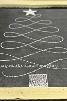 Christmas Tree Chalk Art. I'd like to try this design with ribbon and pins that look like ornaments.