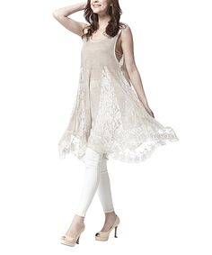 Another great find on #zulily! Simply Couture Khaki Lace Godet Tunic by Simply Couture #zulilyfinds