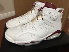 another chance 8d8de ca923 Nike Air Jordan 6 Retro VI 2015 Off White New Maroon 384664-116 sz 11.5