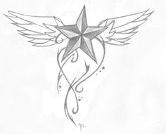 Star with Wings Tattoo Designs - Bing Images Believe Wrist Tattoo, Love Wrist Tattoo, Note Tattoo, Wing Tattoo Designs, Tattoo Design Drawings, Tattoo Sketches, Henna Designs, Drawing Sketches, Wörter Tattoos