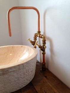 natural rustic handmade copper pipe faucet. Love my bathroom! Made by Bas Zoutman.