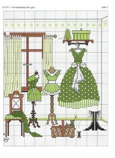 point de croix dressing vert de femme - cross stitch green dress dressing