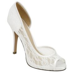 "Brianna Leigh Ella White Bridal Shoes $159.95 With a 3 3/4"" heel, the lovely Brianna Leigh Ella pump is a stunningly sophisticated bridal shoe crafted in elegant white lace with silk trim. Brianna Leigh Ella wedding shoes feature a comfort enhancing peep toe are available in both white and ivory up to size 12. Non-dyeable."