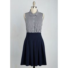 Nautical Mid-length Sleeveless A-line Two for Tennis Dress (3,350 PHP) ❤ liked on Polyvore featuring dresses, shirt dress, long shirt dress, navy and white striped dress, sleeveless dress and button shirt dress