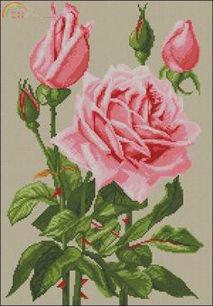 Rose From Nastunya 66 Cross Stitch Rose, Cross Stitch Flowers, Cross Stitch Patterns, Crochet Patterns, Hobbies And Crafts, Kite, Needlepoint, Tapestry, Embroidery
