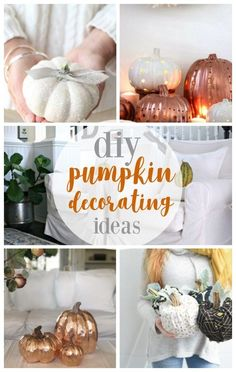 DIY pumpkin decorating ideas and crafts for the fall! Check out this round up featuring My 100 Year Old Home with copper leaf pumpkins! Diy Pumpkin, Pumpkin Crafts, Fall Crafts, Decor Crafts, Pumpkin Carving, Diy Crafts, Pumpkin Ideas, Pumpkin Decorating, Porch Decorating