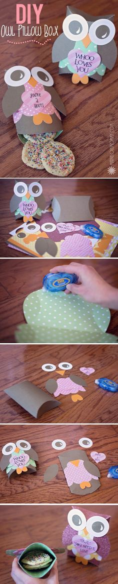 DIY Owl Pillow Boxes for Valentine's Day Treats // Marvelous Mommy Owl Crafts, Diy And Crafts, Crafts For Kids, Paper Crafts, Owl Pillow, Pillow Box, Valentine Day Crafts, Valentines, Diy Gifts