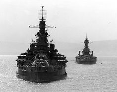USS Nevada and USS Texas in Belfast Lough,Northern Ireland, 14 May 1944. Another dispersal point for the D Day invasion fleet. Not all the invasion fleet were in waters around southern England, but dispersed throughout UK ports, north & south. The pier in Bangor was renamed Eisenhower Pier, in honour of General Eisenhower who addressed troops here & embarked to the ships of the fleet to review this element of the invasion fleet.