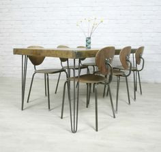 HAIRPIN LEGS VINTAGE INDUSTRIAL RUSTIC MID CENTURY FARM TABLE EAMES ERA 50s 60s | eBay