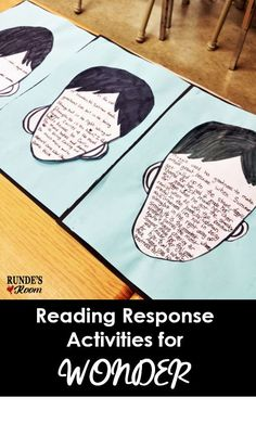 Teach Your Child to Read - Rundes Room - Reading Response Activities for Wonder - Give Your Child a Head Start, and.Pave the Way for a Bright, Successful Future. Reading Response Activities, Reading Lessons, Writing Activities, Teaching Reading, Reading Comprehension, Comprehension Strategies, Teaching Ideas, Efl Teaching, Elementary Teaching
