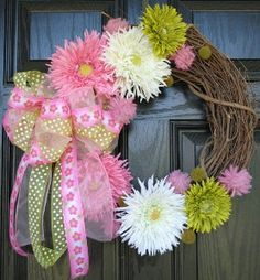pink green and white gerber daisy wreath