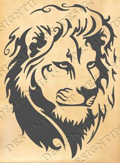 Head of a lion, SVG, DXF, PNG, AI ,CDR, PDF, print and cut files for tattoo design, t-shirt design, sticker, wall decor, scroll saw, car decal, embroidery pattern. Digital template/stencil files for use with Silhouette, Cricut and other Vinyl Cutters and printing machine.
