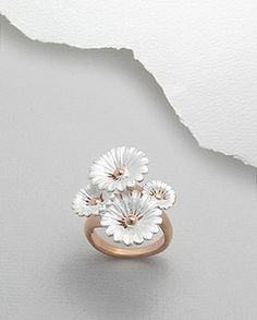 Sterling Silver & Pink Rose Gold Four Flower Ring