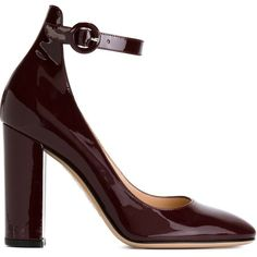 Gianvito Rossi Ankle Strap Pumps ($614) ❤ liked on Polyvore featuring shoes, pumps, red, round toe pumps, round cap, block heel shoes, ankle strap shoes and burgundy shoes