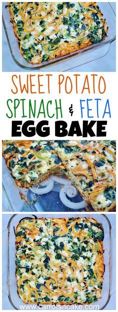 Sweet Potato, Spinach & Feta Egg Bake Recipe http://carrotsncake.com/2017/01/sweet-potato-spinach-feta-egg-bake-recipe.html