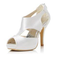 Wedding Shoes - $59.99 - Women's Satin Stiletto Heel Peep Toe Sandals With Zipper  http://www.dressfirst.com/Women-S-Satin-Stiletto-Heel-Peep-Toe-Sandals-With-Zipper-047048005-g48005