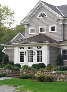 grey exterior house colors Exterior paint color: Gray Huskie by Benjamin Moore Exterior Gray Paint, Design Exterior, Exterior Paint Colors For House, Paint Colors For Home, Exterior Colors, Facade Design, Exterior Windows, Grey Siding, Gray Exterior Houses