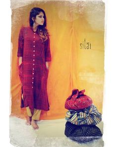 Red A Line Tunic I Shop at :http://www.thesecretlabel.com/silai