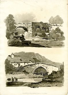 Recto Plate Two landscapes with bridges, the lower one a humpback bridge, with thatched cottages in background at left. 1 August 1813 Soft-ground etching and aquatint Reproduced by permission of the artist. © The Trustees of the British Museum Wall Drawing, Manga Drawing, Painting & Drawing, Drawing Faces, Drawing Tips, Hipster Drawings, Art Drawings, Pencil Drawings, Landscape Drawings