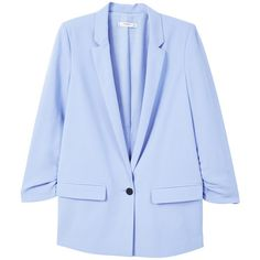 MANGO Ruched sleeves blazer (7.095 RUB) ❤ liked on Polyvore featuring outerwear, jackets, blazers, sky blue, mango blazer, fleece-lined jackets, blazer jacket, blue blazer jacket and sky blue blazer