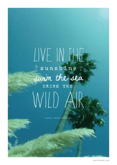 Live in the Sunshine, Swim in the Sea, Drink the Wild Air- quote by Ralph Waldo Emerson.