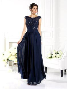 A-Line/Princess Scoop Sleeveless Beading Floor-Length Chiffon Dresses