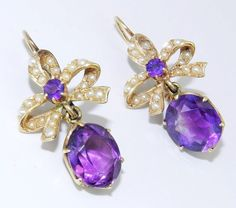 antique amethyst jewelry | Antique 14K Yellow Gold Seed Pearl and Amethyst BOW Dangle Drop Unique ...
