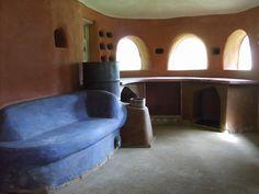 cob interior and rocket mass heater