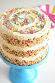The Best Rice Krispie Birthday Cake – Sweet Enchanted – Fun cakes – birthday Rice Krispies, Rice Krispie Cakes, Köstliche Desserts, Delicious Desserts, Rice Crispy Cake, Rice Krispy Cake Recipe, Twin Birthday Cakes, 5th Birthday, Birthday Cake Alternatives