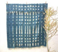 African throw blanket, Indigo textile Hand dyed indigo mudcloth African Indigo fabric Indigo Cloth Indigo Beach Blanket territoryhomegoods