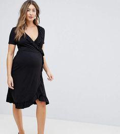 ASOS Maternity Midi Wrap Tea Dress With Ruffles.#ad