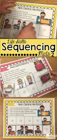 Teach your students sequencing, life skills, language, transitional words, listening, and following directions all-in-one with these mats! 12 mats included!