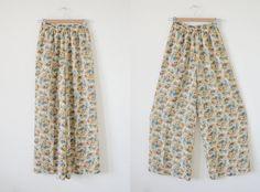 70s floral pants / high waist pants / flowy wide pants